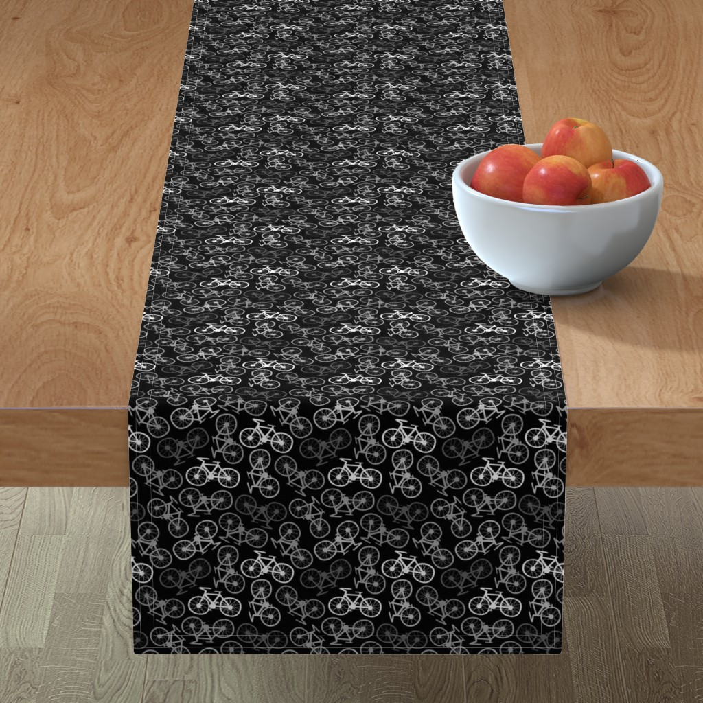 Minorca Table Runner featuring Cycling in Monochrome by thewellingtonboot