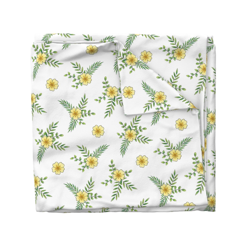 Wyandotte Duvet Cover featuring Primroses on white by hazelfishercreations
