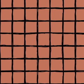 Abstract geometric black and copper autumn checkered stripe trend pattern grid Medium