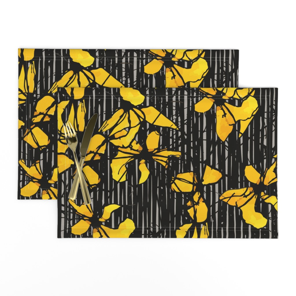 Lamona Cloth Placemats featuring WAYWARD DAISY by ellyren
