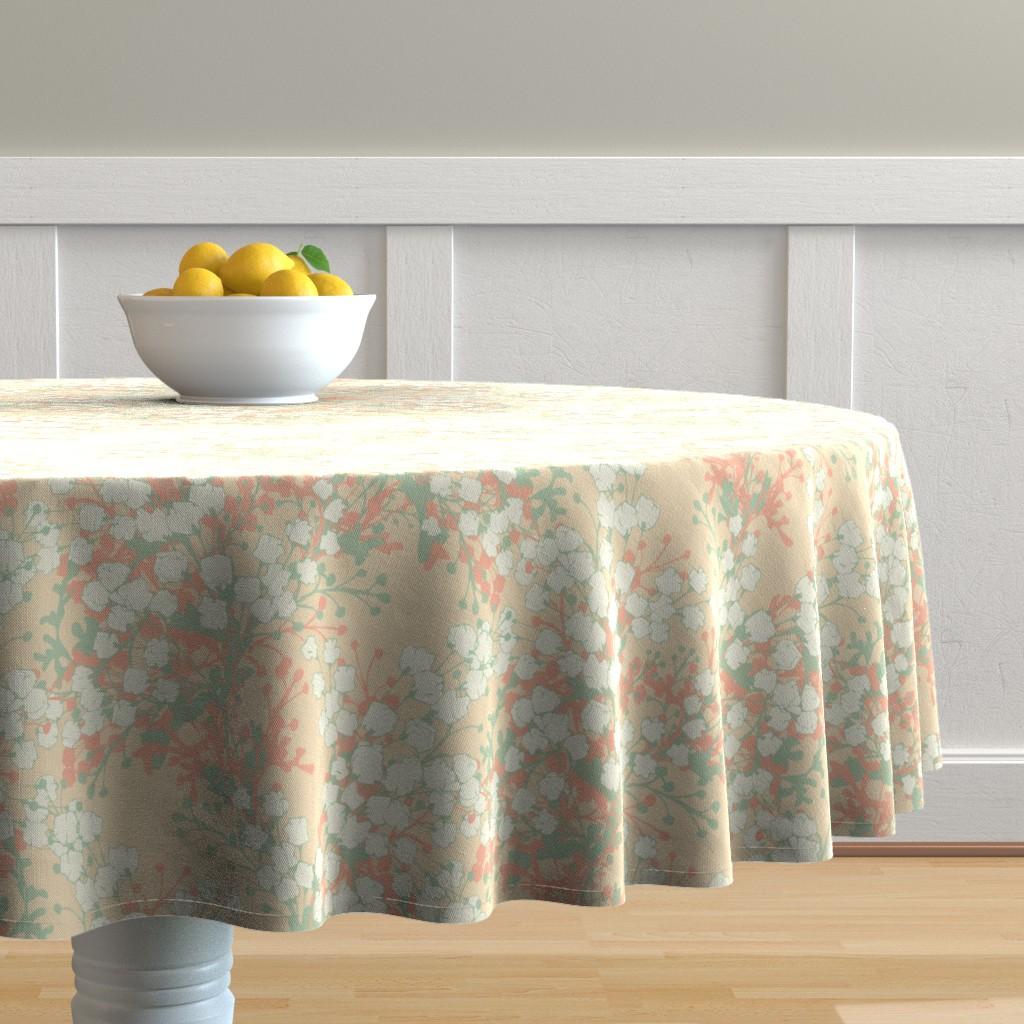 Malay Round Tablecloth featuring WAYWARD DAISY by ellyren