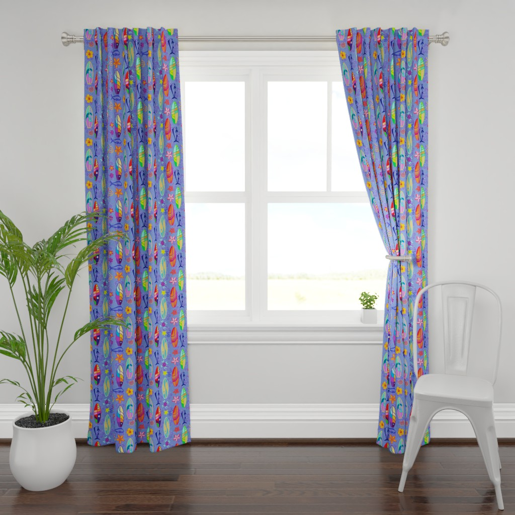 Plymouth Curtain Panel featuring Surfin Gitup by adrianne_vanalstine