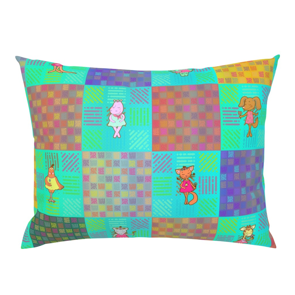 """Campine Pillow Sham featuring 6"""" PATCHWORK ANIMALS CHEATERQUILT  ON AQUA CHECKERBOARD by floweryhat"""