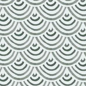 Green Grey Watercolor Arch Waves Scales