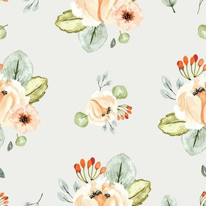 Orchard Park Watercolor Florals Soft Gray