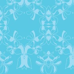 Oxalis  swirls monochrome blue