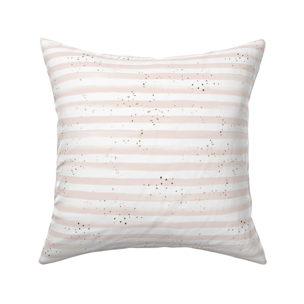 Catalan Throw Pillow featuring Watercolor Stripe + Gold Dots Blush by crystal_walen