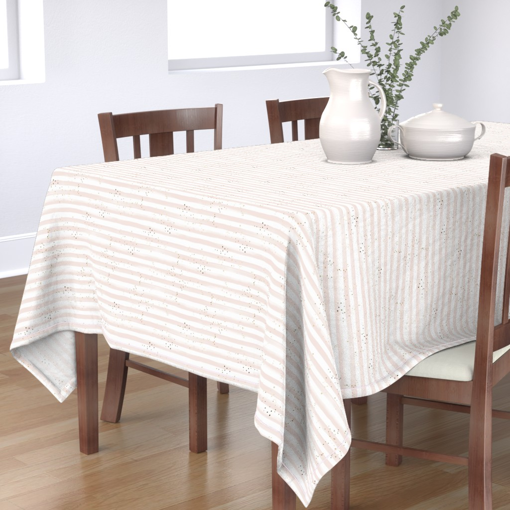 Bantam Rectangular Tablecloth featuring Watercolor Stripe + Gold Dots Blush by crystal_walen