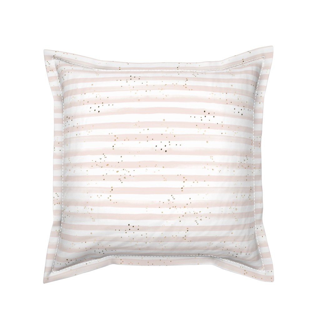 Serama Throw Pillow featuring Watercolor Stripe + Gold Dots Blush by crystal_walen