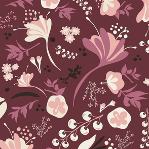 Beautiful Blooms on Burgundy