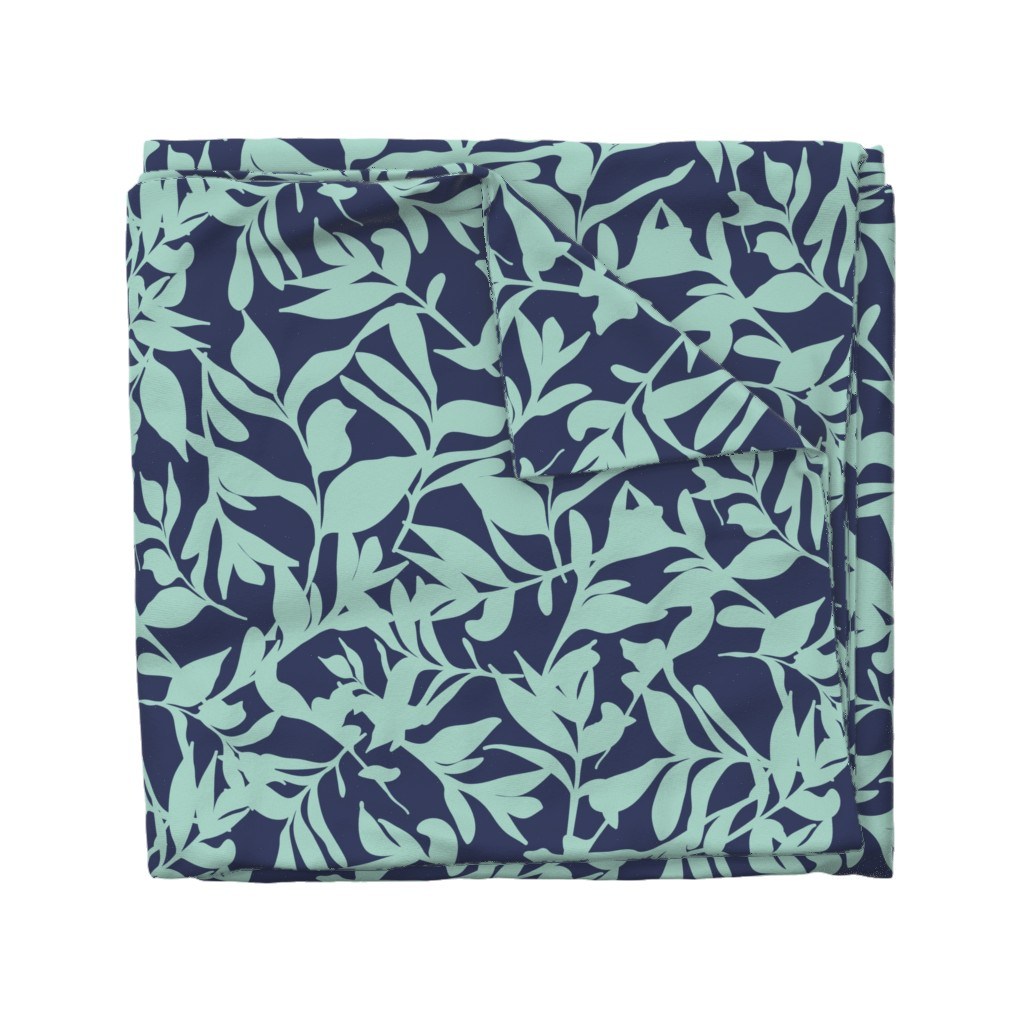 Wyandotte Duvet Cover featuring Forest Floor on Navy by paula_ohreen_designs