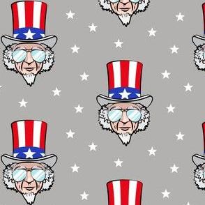 Uncle Sam w/ sunnies on grey