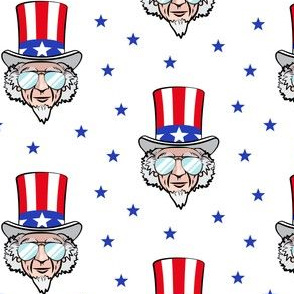 Uncle Sam w/sunnies on white
