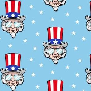 Uncle Sam w/ sunnies on blue