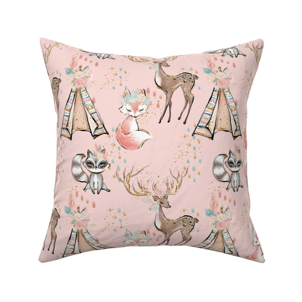 Catalan Throw Pillow featuring Glitter pink boho- minky child size blanket by comfybabyboutique