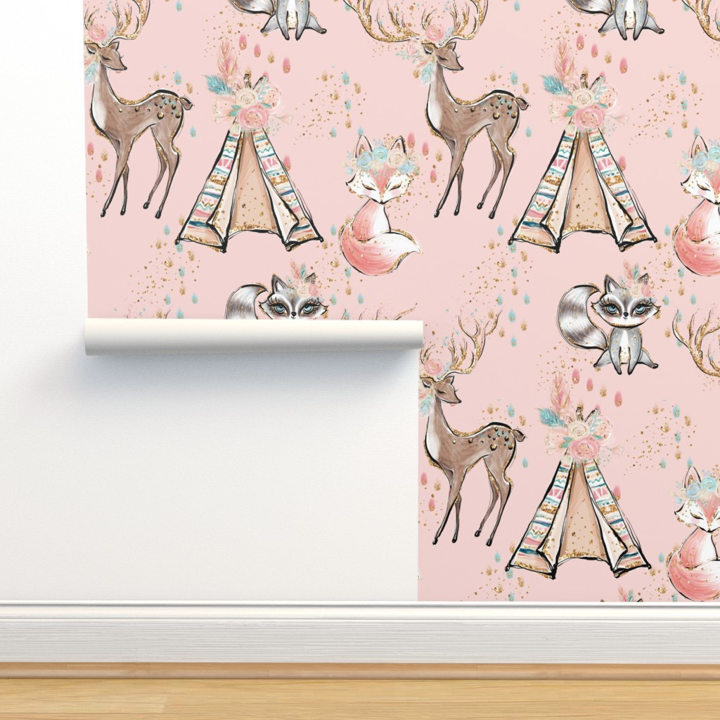 Isobar Durable Wallpaper featuring Glitter pink boho- minky child size blanket by comfybabyboutique