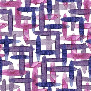 Watercolor abstract checkered blue purple cross-hatching brush strokes on white background