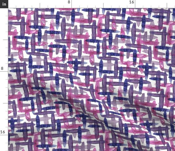 Fabric By The Yard Watercolor Abstract Checkered Blue Purple Cross Hatching Brush Strokes On White Background