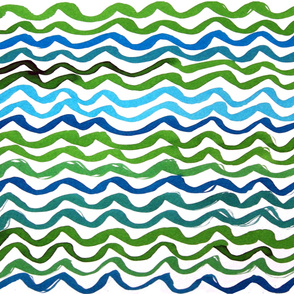 green blue turquoise watercolor waves