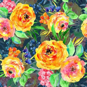 Bright watercolor orange flowers on blue background