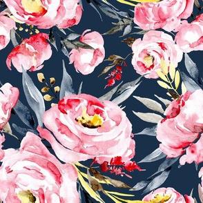 Watercolor pink blush peonies on dark navy blue background