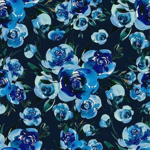 Vintage watercolor blue flowers roses bouquets on dark navy background