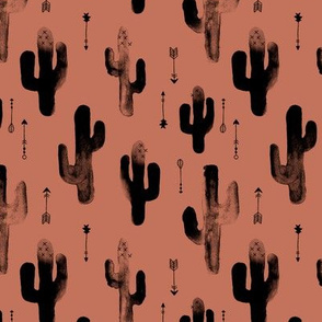 Watercolors ink cactus garden gender neutral geometric arrows cowboy theme autumn copper brown