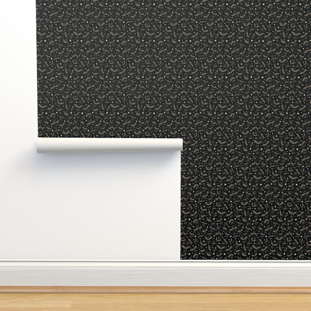 Isobar Durable Wallpaper featuring Wild Gray Bats on Black small by johannaparkerdesign