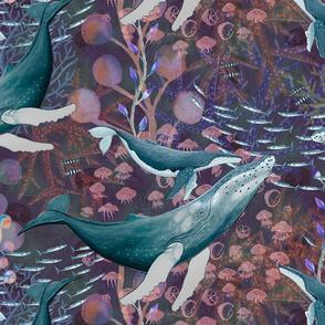 LARGE ELEGANT WHALES AQUATIC BALLET BURGUNDY OCEAN by FloweryHat