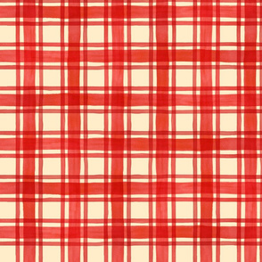Red and Cream Watercolor Plaid