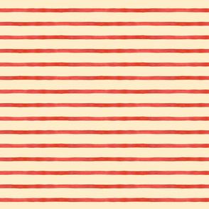 Medium Watercolor Stripes, Red on Cream
