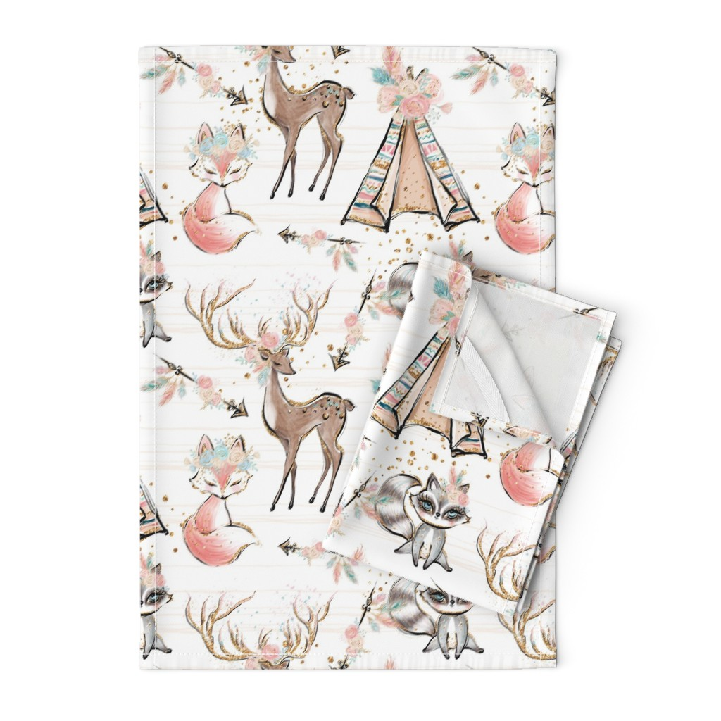 Orpington Tea Towels featuring Pretty Glitter Woodland Creatures by comfybabyboutique
