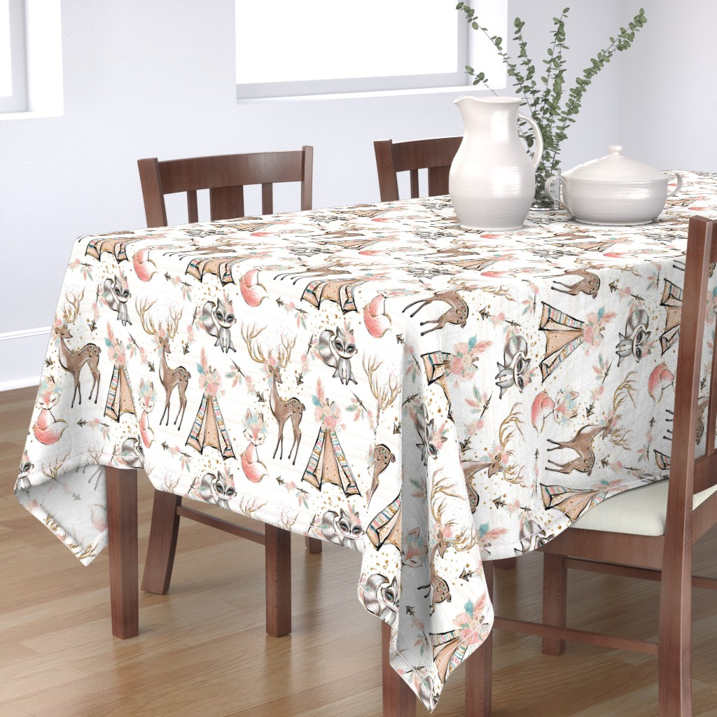 Bantam Rectangular Tablecloth featuring Pretty Glitter Woodland Creatures by comfybabyboutique