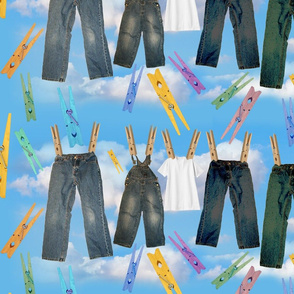 Laundry with 5 and Clouds 2 CLOTHESPINS MERGED