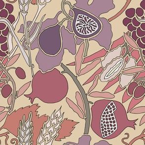 Seven Species Botanical Print in Mauves and Plums - Original Scale