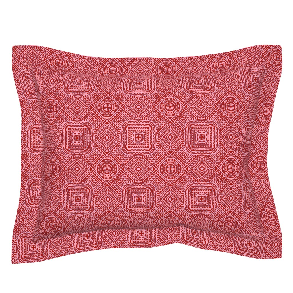 Sebright Pillow Sham featuring Viva Mexico, Red by palifino