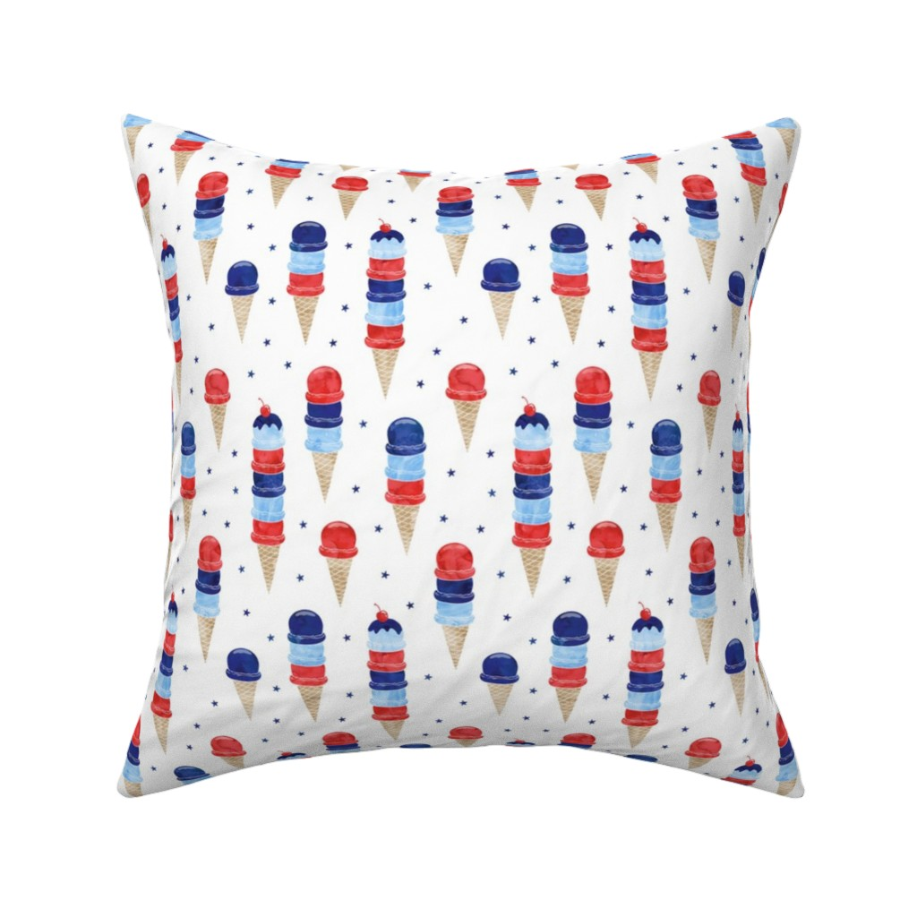 Catalan Throw Pillow featuring patriotic ice cream - blue stars by littlearrowdesign