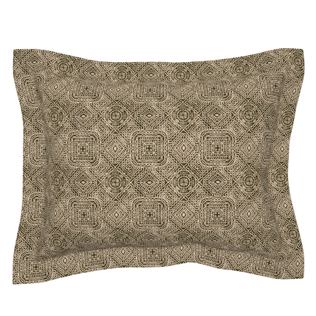 Sebright Pillow Sham featuring Viva Mexico, Brown by palifino