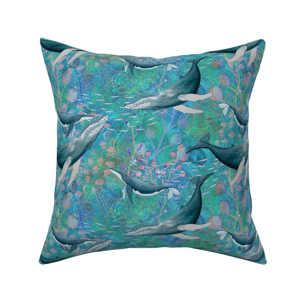 Catalan Throw Pillow featuring ELEGANT WHALES AQUATIC BALLET AQUA TURQUOISE OCEAN by floweryhat