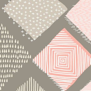 Large Tan and Blush Argyle with Texture