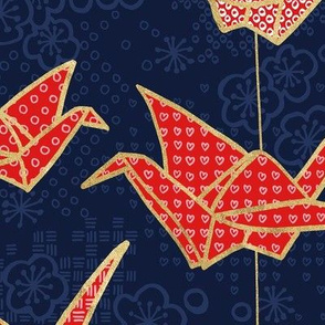 Large Red Origami Cranes on Navy Blue
