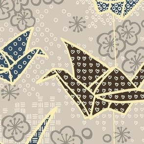 Large Origami Cranes Earth Tones