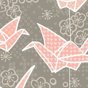 Large Tan and Blush Origami Cranes and Cherry Blossoms