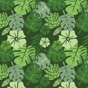 Tropical floral green monochrome