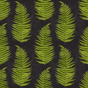 Watercolor Fern Leaves on Black Background