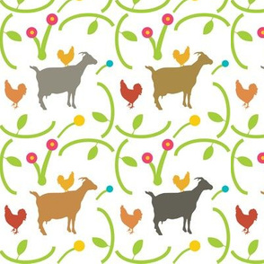 Goats and Hens on White, Farm Animals, Chickens, Playful Friends