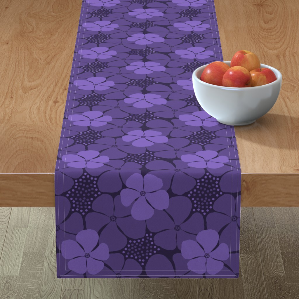 Minorca Table Runner featuring Monochrome Floral Ultra Violet by theartofvikki