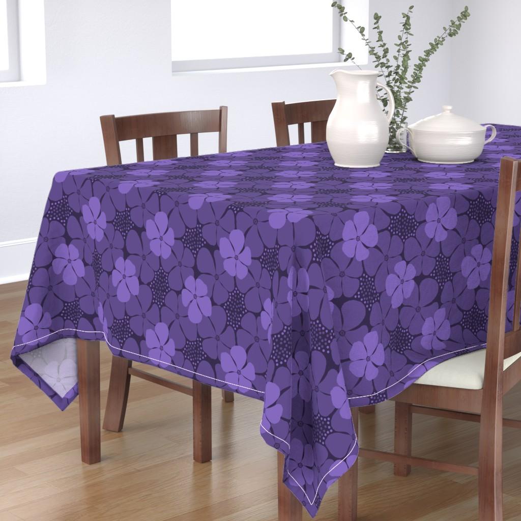 Bantam Rectangular Tablecloth featuring Monochrome Floral Ultra Violet by theartofvikki