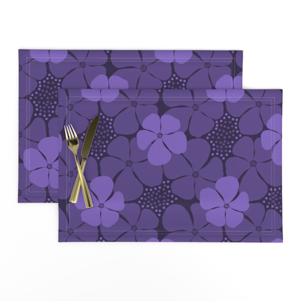 Lamona Cloth Placemats featuring Monochrome Floral Ultra Violet by theartofvikki