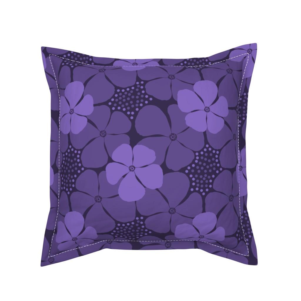 Serama Throw Pillow featuring Monochrome Floral Ultra Violet by theartofvikki
